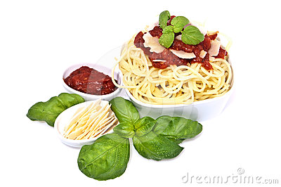 Fresh Spaghetti With Tomato Sauce And Parmesan Stock Photography ...