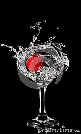 Fresh splashing strawberry