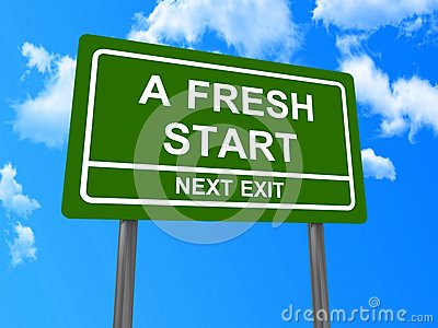 A fresh start next exit sign