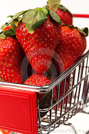 Fresh strawberries on cart
