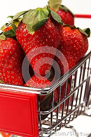 Fresh strawberries on cart
