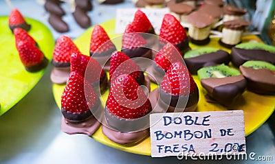 Fresh strawberries dipped in chocolate