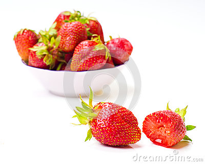 Fresh strawberries isolated