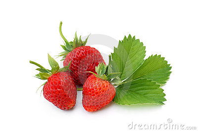 Fresh strawberries with leaves