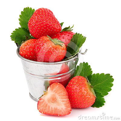 Fresh strawberries on white background.