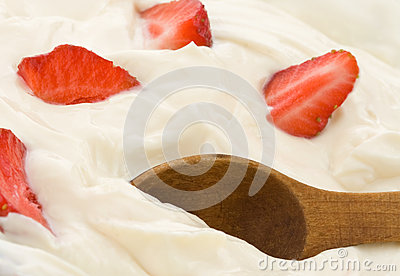 Fresh strawberry in cream