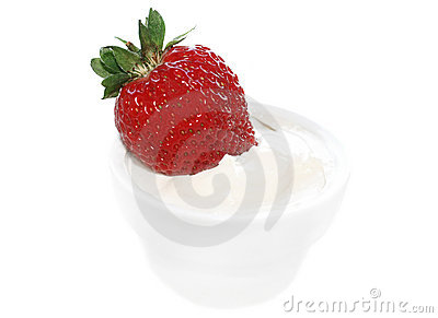 Fresh strawberry in cream isolated