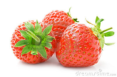Fresh strawberry fruits with green leaves