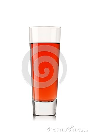 fresh strawberry juice on a white background