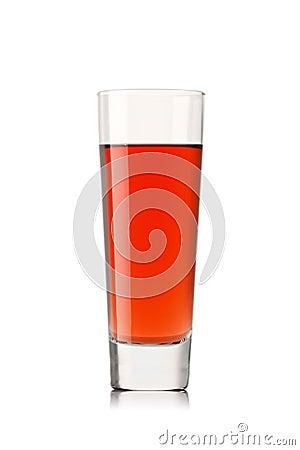 fresh strawberry juice on a white background