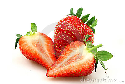 Fresh strawberry and two halves