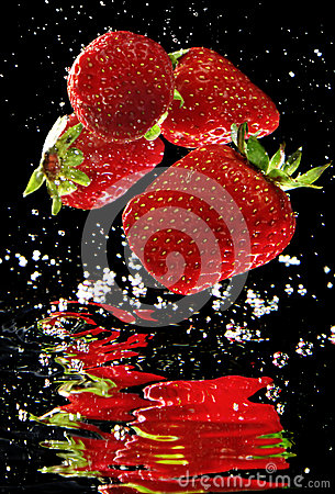 Fresh Strawberry in water
