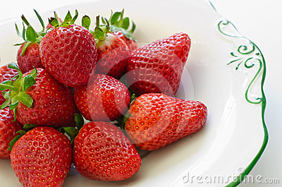 Fresh sweet and juicy red strawberries