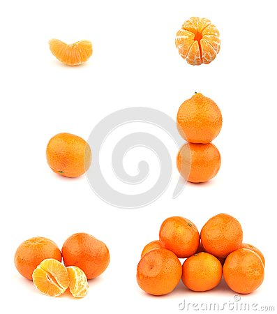 Fresh Tangerines isolated on white background.
