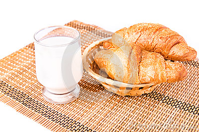 Fresh and tasty French croissants in a basket with glass of milk