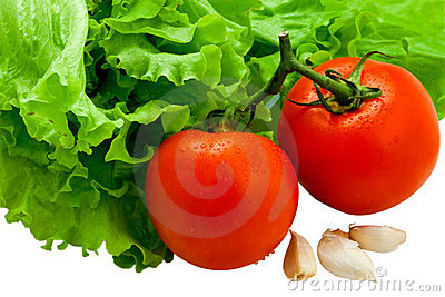 Fresh tasty vegetables with drops isolated