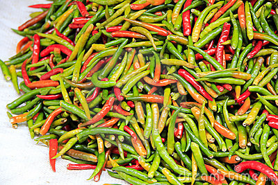 Fresh thai chilli peppers bangkok market