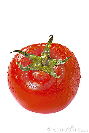 Fresh tomato over white
