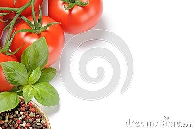 Fresh tomatoes, basil and grain pepper