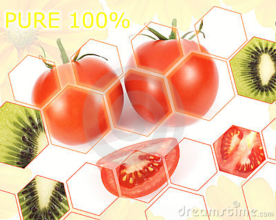 Fresh tomatoes and kiwi poster