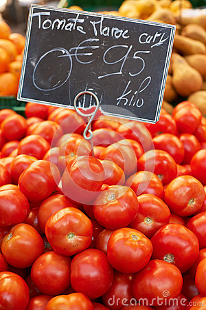 Fresh tomatoes on market