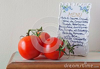 Fresh Tomatoes and Menu
