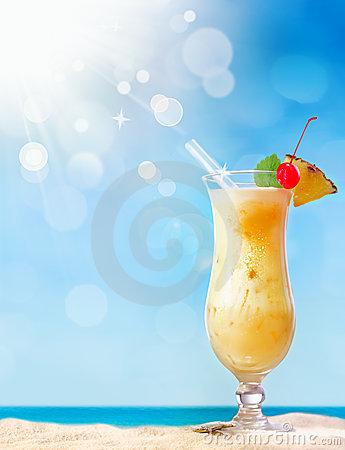 Fresh tropical coctail on sunny beach