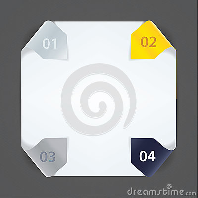 Fresh vector template. Four arrows in solid colors for your webs
