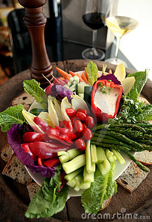 Fresh vegetable crudite platter