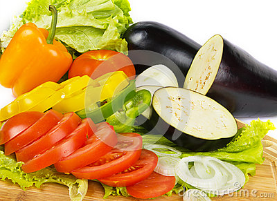 Fresh vegetable slices background
