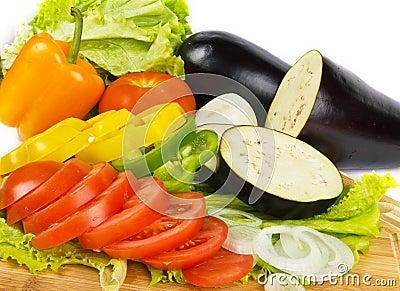 Fresh vegetable slices background