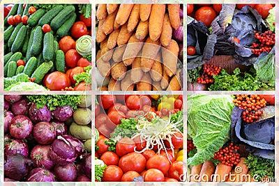 Fresh vegetable variety collage