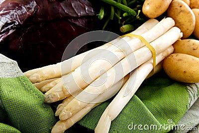 Fresh vegetables, bunch of white asparagus