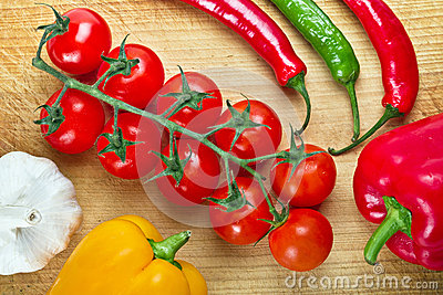 Fresh vegetables for cooking on cuting board