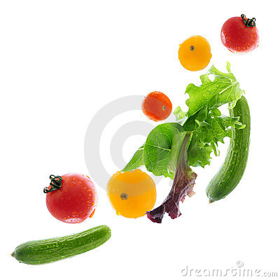Fresh vegetables flying