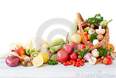 Fresh vegetables and fruit in basket. Stock Photo