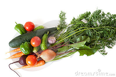 Fresh Vegetables From The Garden On A White Plate Stock Image - Image: 15890481