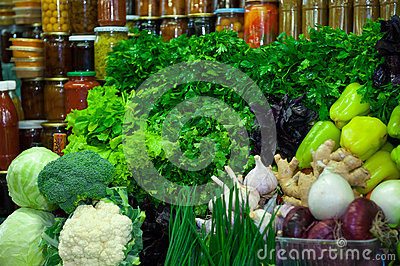 Fresh vegetables and greens