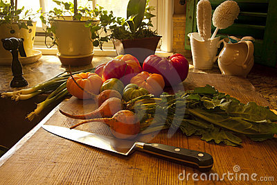 Fresh vegetables in kitchen
