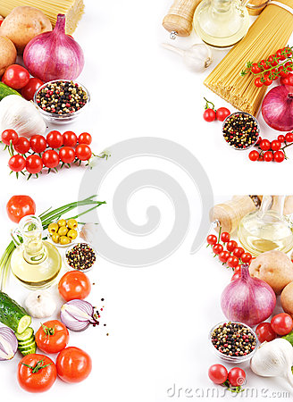 Fresh vegetables pasta and spices