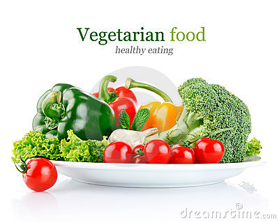 Fresh vegetables in plate
