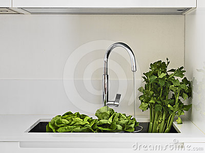 Fresh vegetables on the sink