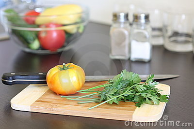 Fresh vegetables on table