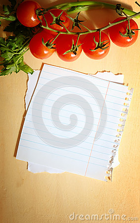 Fresh vegetables  on wooden background and paper