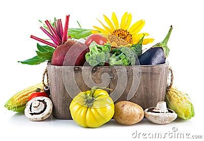 Fresh vegetables in wooden basket