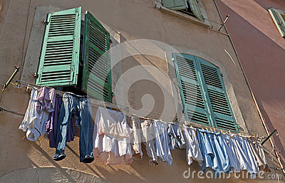 Fresh washed clothes in Marseille in France