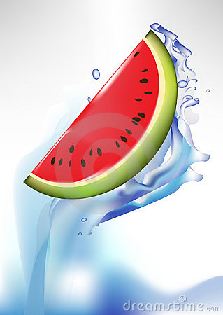 Fresh watermelon slice in splash of water