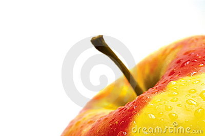 A fresh wet apple on white background