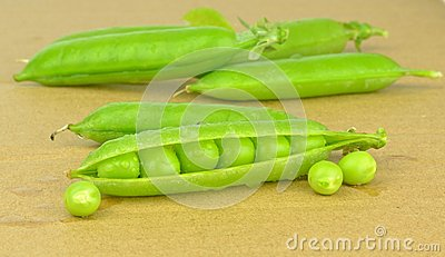 Fresh wet peas in a pea pod