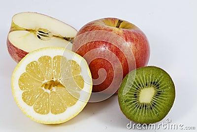 Fresh whole and sliced fruit